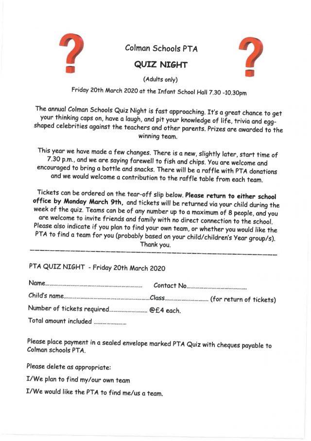 PTA Quiz Night Letter